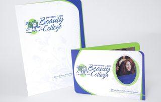 Sand Springs/Jenks Beauty College capabilities brochure and pocket folder