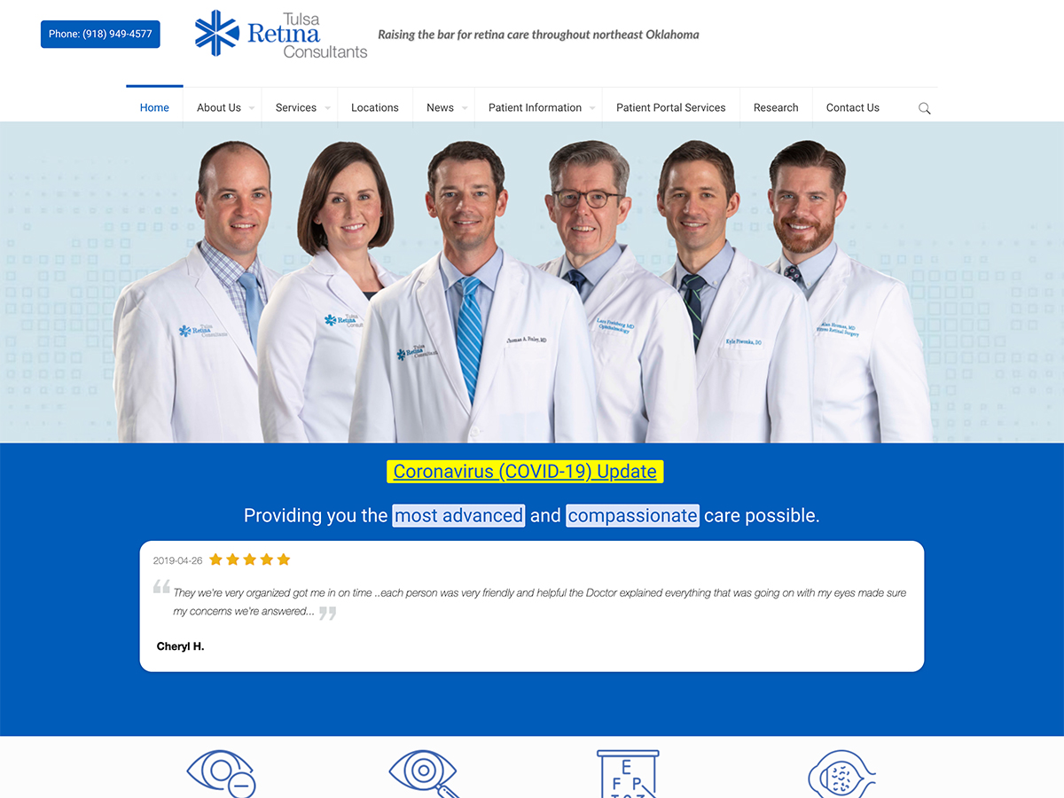 Tulsa Retina Specialists Website